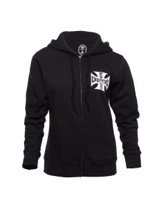 WCC LADIES CALSSIC LOGO ZIP HOODY - BLACK