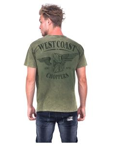 WEST COAST CHOPPERS OG WINGS RETRO STONE  T-SHIRT - ARMY GREEN